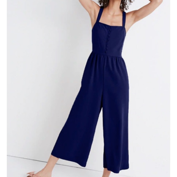 14b58424801 Madewell Smocked Button-Front Crop Jumpsuit